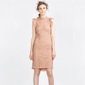 Zara blush pink guipure lace dress XS